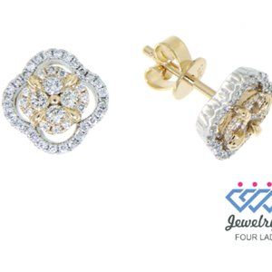 Solid Diamond Flower Stud Earrings Multi Tone Gold